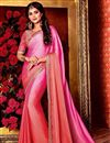 image of Pink Art Silk Plain Saree with Lace Border And Fancy Blouse