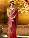 photo of Embroidered Fancy Designer Saree In Red And Rani