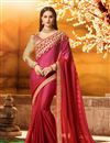 image of Embroidered Fancy Designer Saree In Red And Rani