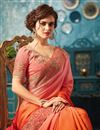 photo of Art Silk And Georgette Designer Saree In Rust With Embroidery Work And Blouse