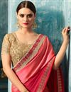 photo of Crimson Color Embroidery Work On Festive Wear Saree In Art Silk And Georgette With Blouse