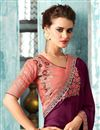 photo of Embroidery Designs On Burgundy Art Silk Occasion Wear Saree