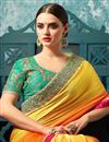 photo of Embroidery Work On Art Silk And Chiffon Orange Function Wear Saree With Blouse