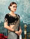 photo of Grey Art Silk And Chiffon Designer Saree With Embroidered Party Wear Blouse