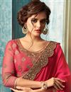 photo of Embroidery Designs On Crimson Color Occasion Wear Saree In Georgette