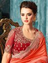 photo of Embroidery Work On Function Wear Saree In Salmon Color Art Silk Fabric