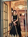 image of Designer Function Wear Fancy Black Anarkali Salwar Kameez In Banglori Silk
