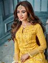 photo of Function Wear Yellow Embroidered Designer Dress In Georgette
