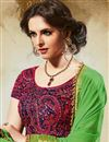 photo of Georgette And Jacquard Fabric Party Wear Designer Saree In Green Color