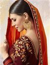 photo of Georgette Zari And Thread Work Embroidered Wedding Saree In Orange