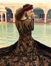 photo of Net Fabric Designer Embroidered Anarkali Salwar Kameez In Brown Color