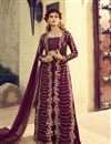 image of Art Silk Fabric Purple Color Function Wear Embroidered Designer Indowestern Palazzo Suit