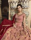 photo of Taffeta Fabric Burgundy Color Designer Heavy Embroidery Work Reception Wear Long Length Anarkali Suit