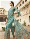 photo of Light Cyan Color Heavy Embroidered Designer Reception Wear Floor Length Long Anarkali Suit In Net Fabric
