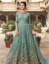 image of Light Cyan Color Heavy Embroidered Designer Reception Wear Floor Length Long Anarkali Suit In Net Fabric