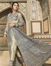 photo of Cream Color Heavy Embroidered Designer Reception Wear Floor Length Long Anarkali Suit In Taffeta Fabric