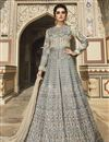 image of Cream Color Heavy Embroidered Designer Reception Wear Floor Length Long Anarkali Suit In Taffeta Fabric