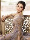 photo of Net Fabric Lavender Color Function Wear Embroidered Long Anarkali Suit