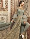photo of Net Fabric Grey Color Function Wear Embroidered Long Anarkali Suit