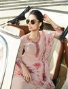 photo of Fancy Party Style Pink Color Thread Embroidered Straight Cut Georgette Fabric Dress