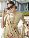 photo of Beige Color Party Style Fancy Thread Embroidered Straight Cut Suit In Georgette Fabric