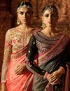 picture of Wedding Special Function Wear Art Silk Designer Saree In Salmon Color With Heavy Work Blouse
