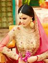 picture of Designer Wedding Function Wear Pink Color Chiffon Saree With Fancy Blouse
