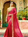 image of Designer Wedding Function Wear Pink Color Chiffon Saree With Fancy Blouse