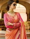 picture of Function Wear Designer Fancy Peach Color Silk Saree With Embellished Blouse