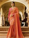 image of Function Wear Designer Fancy Peach Color Silk Saree With Embellished Blouse