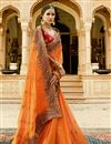 picture of Festive Wear Designer Orange Color Silk Embroidered Saree With Fancy Blouse