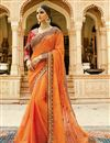 image of Festive Wear Designer Orange Color Silk Embroidered Saree With Fancy Blouse