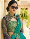 picture of Wedding Party Wear Cyan Color Silk Designer Saree With Stylish Blouse