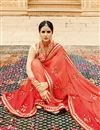 photo of Designer Function Wear Fancy Orange And Red Color Georgette Saree With Fancy Blouse