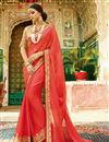 image of Function Wear Designer Fancy Red Color Chiffon Saree With Embellished Blouse