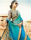 photo of Festive Wear Designer Cyan Color Chiffon Embroidered Saree With Fancy Blouse