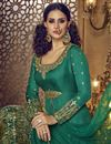 photo of Wedding Wear Fancy Embellished Teal Lehenga In Banglori Silk