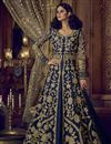 image of Function Wear Embroidered Banglori Silk Lehenga Choli In Navy Blue