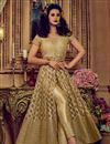 image of Embellished Chikoo Color Net Designer Long Anarkali Dress With Pants
