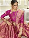 photo of Weaving Work Art Silk Fabric Saree In Magenta Color With Party Wear Blouse