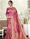 image of Weaving Work Art Silk Fabric Saree In Magenta Color With Party Wear Blouse