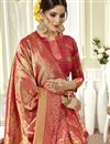 photo of Pink Color Art Silk Fabric Designer Weaving Work Saree With Party Wear Blouse