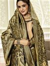 photo of Weaving Work Art Silk Fabric Wedding Wear Saree In Black Color With Designer Blouse