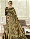 image of Weaving Work Art Silk Fabric Wedding Wear Saree In Black Color With Designer Blouse