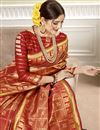 photo of Red Color Party Wear Saree In Art Silk Fabric With Weaving Work And Blouse