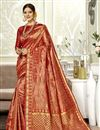 image of Red Color Party Wear Saree In Art Silk Fabric With Weaving Work And Blouse