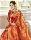 photo of Designer Saree In Art Silk Fabric Red Color With Weaving Work And Party Wear Blouse