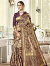 image of Weaving Work Art Silk Fabric Occasion Wear Purple Color Saree With Designer Blouse