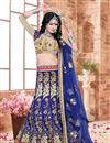 image of Blue Color Charming Designer Embroidered Silk Fabric Lehenga Choli