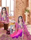 photo of Pink And Purple Color Charming Designer Embroidered Satin Fabric Lehenga Choli